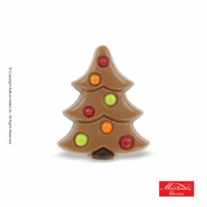 Martinez φιγούρα απο σοκολάτα γάλακτος σε σχήμα δέντρου με διακοσμητικές πολύχρωμες μπάλες. Ιδανικό για τα Χριστούγεννα.