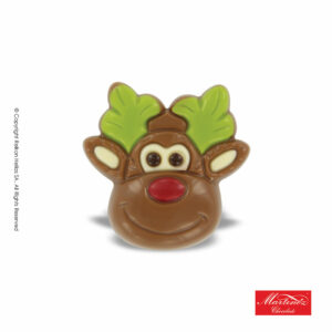 Martinez φιγούρα απο σοκολάτα γάλακτος σε σχήμα τάρανδου με πράσινα κέρατα. Ιδανικό για τα Χριστούγεννα.
