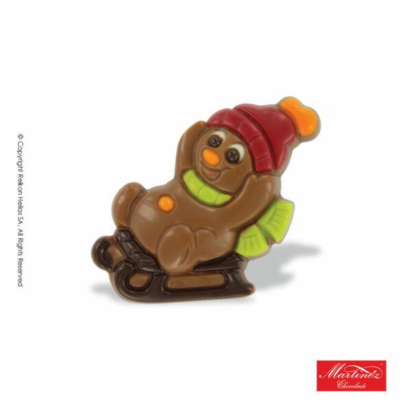 Martinez φιγούρα απο σοκολάτα γάλακτος σε σχήμα χιονάνθρωπου που κάνει σκί με έλκηθρο. Ιδανικό για τα Χριστούγεννα.