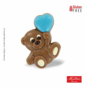 Σοκολατένιες φιγούρες σε σχήμα αρκουδάκι με μπλε καρδιά