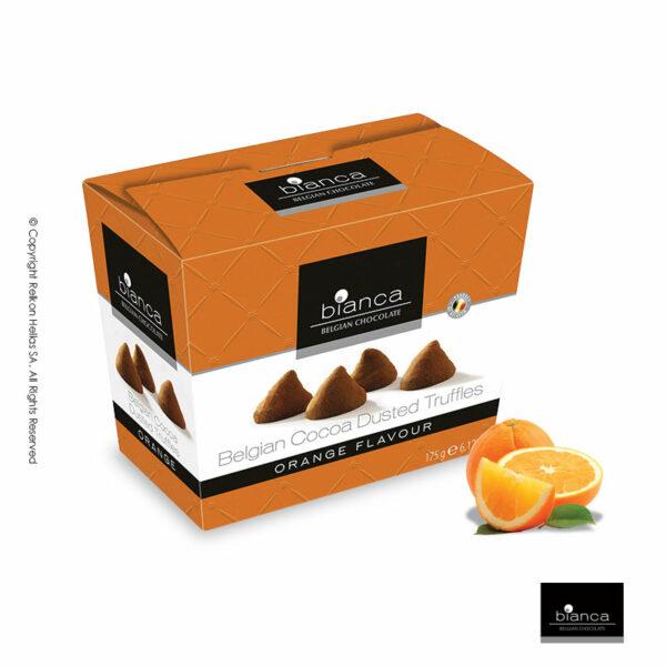 Τρούφες κακάο με γεύση πορτοκάλι, σε κουτί.