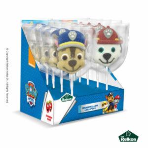 Paw Patrol marshmallow lollipops σε σχέδια Chase, Marshall και Skye με γεύση φράουλα.