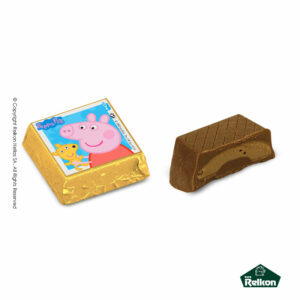 Σοκολατένια τετράγωνα κεράσματα γάλακτος Peppa Pig με γέμιση πραλίνας φουντουκιού