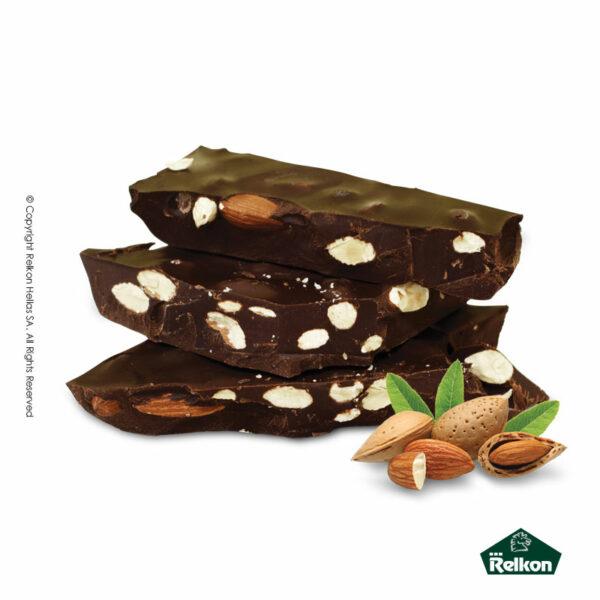 Παραδοσιακά μπλόκ σοκολάτας υγείας με ολόκληρα αμύγδαλα