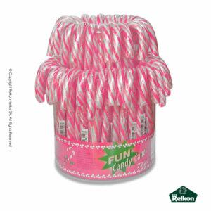 Γλειφιτζούρι με γεύση tutti frutti σχήματος μπαστούνι και χρώμα λευκό-ρόζ ριγέ. Ιδανικό για παιδικά πάρτυ, βάπτιση, candy bar, events.