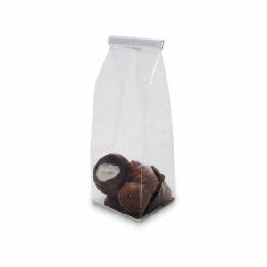 Σακουλάκι διάφανο με ασημένια βάση, κατάλληλο για συσκευασία τροφίμων. Ιδανικό για μεσαίες συσκευασίες δώρου.