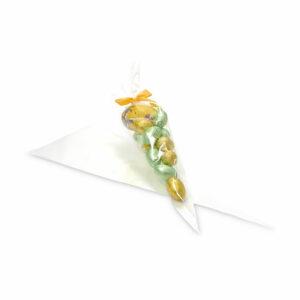 Σακουλάκι διάφανο σε σχήμα κώνου, κατάλληλο για συσκευασία τροφίμων. Ιδανικό για μικρές συσκευασίες δώρου.