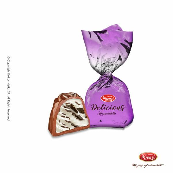 Τυλιχτά σοκολατάκια με σοκολάτα γάλακτος, γέμιση κρέμα γάλακτος και τραγανούς κόκκους σοκολάτας.