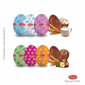 Πασχαλινό αυγουλάκι Witor's με επικάλυψη σοκολάτα γάλακτος, γέμιση από πραλίνα φουντουκιού ή λευκή κρέμα και τραγανά δημητριακά (crispies), τυλιγμένα σε πολύχρωμα σχέδια με λουλούδια. Ιδανικό για Πάσχα.