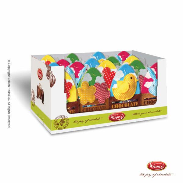 Πασχαλινό αυγουλάκι Witor's με επικάλυψη σοκολάτα γάλακτος και γέμιση από λευκή κρέμα , σε διάφορες τσόχινες συσκευασίες ανοιξιάτικων ζώων και λουλουδιών. Ιδανικό για δώρο την περίοδο της Άνοιξης και του Πάσχα.