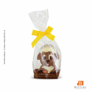 Belfine φιγούρα από σοκολάτα γάλακτος σε σχέδιο καθιστό προβατάκι. Ιδανικό για Πάσχα.