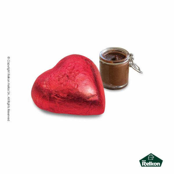 Τυλιχτό σοκολατάκι σε σχήμα καρδιάς με επικάλυψη σοκολάτα υγείας και γέμιση πραλίνας φουντουκιού. Ιδανικό για τον Αγ. Βαλεντίνο.