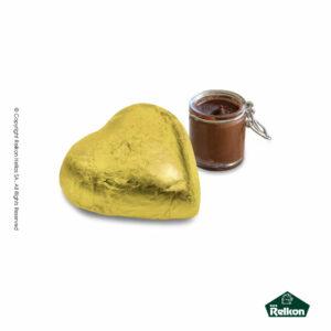 Τυλιχτό σοκολατάκι σε σχήμα καρδιάς με επικάλυψη σοκολάτα γάλακτος και γέμιση πραλίνας φουντουκιού. Ιδανικό για τον Αγ. Βαλεντίνο.