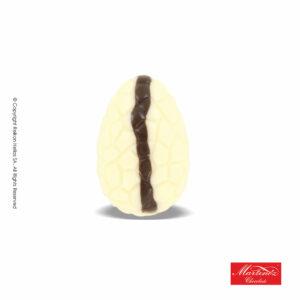 Martinez αυγουλάκι από σοκολάτα λευκή και γέμιση stracciatella με σχέδιο καφέ ρίγα. Ιδανικό για Πάσχα.