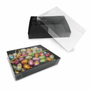 Κασετίνα διάφανη με μαύρη βάση. Ιδανική για συσκευασία δώρου.