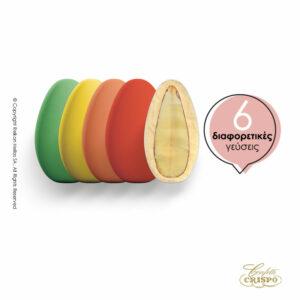 GLUTEN FREE SNOB με ολόκληρο καβουρδισμένο αμύγδαλο, γέμιση λευκής σοκολάτας και λεπτή επίστρωση ζάχαρης σε διάφορες γεύσεις και χρώματα. Ιδανικό για γάμους, βαπτίσεις και candy bar. Γεύσεις : καρύδα, capuccino, αχλάδι, φράουλα, λεμόνι, πορτοκάλι