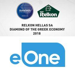 Relkon ιστορία, βραβείο DIAMONDS of the Greek Economy, κορυφαία ελληνική επιχείρηση. Συμβόλαιο συνεργασίας με την Entertainment One Ltd. (eONE)
