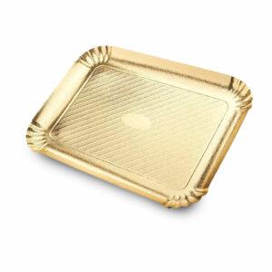 Χρυσός δίσκος, κατασκευασμένος από χαρτόνι σε συνδυασμό με μεμβράνη, ανθεκτικός στα λιπαρά τροφίμων. Ο κομψός σχεδιασμός, σε χρυσό χρώμα, το καθιστά κατάλληλο για την παρουσίαση του τελικού προϊόντος.