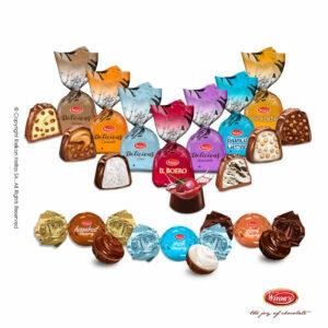 Συσκευασία mixed με 8 διαφορετικα τυλιχτά σοκολατάκια: Boero Cherry, Golden, Bianco Cuore, Tiramisu, Stracciatella, Cocco, Caramello και Creamy mix.