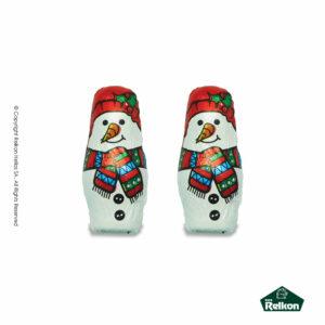 Χριστουγεννιάτικα σοκολατάκια από σοκολάτα γάλακτος σε σχέδιο χιονάνθρωπου. Παράγονται από υψηλής ποιότητας σοκολάτα και είναι η τέλεια επιλογή για τα Χριστούγεννα.