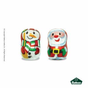 Χριστουγεννιάτικα σοκολατάκια από πλούσια σοκολάτα γάλακτος. Ανάμεικτη συσκευασία με 2 υπέροχα διαφορετικά σχέδια (χιονάνθρωπος και Αγ. Βασίλης).