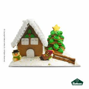 Χριστουγεννιάτικο μπισκοτοχωριό (Gingerbread) διακοσμημένο με ζαχαρόπαστα, τρούφα και λαχταριστά σοκολατάκια φιγούρες Martinez.