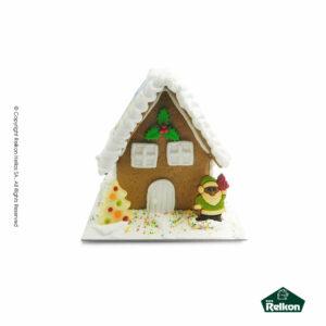 Χριστουγεννιάτικο μπισκοτόσπιτο (Gingerbread) διακοσμημένο με ζαχαρόπαστα, τρούφα και λαχταριστά σοκολατάκια φιγούρες Martinez.