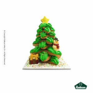 Χριστουγεννιάτικο μπισκοτοδέντρο (Gingerbread) διακοσμημένο με ζαχαρόπαστα, τρούφα και λαχταριστά σοκολατάκια φιγούρες Martinez.